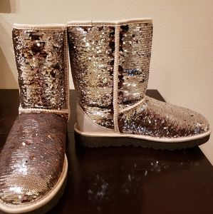 UGG Classic Short Sparkles Boot, Brown & Gold